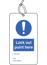 Lockout Tag - Lock Out Point Here - 80 x 150mm (Pack of 10)